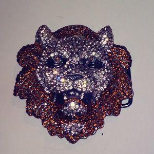 Rhinestone Lion head Buckle